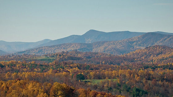 View of fall color mountain range at Fisher Peak