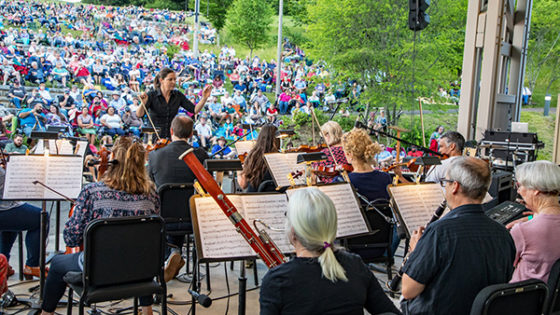 Orchestra with large crowd in background